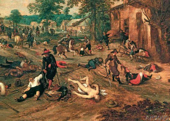 """637418 3ND-V34-T1-1 Vrancx, Sebastian 1573-1647. """"Pluenderung eines Dorfes"""". Ausschnitt. Oel auf Holz, 75 x 107 cm. R.F. 1182 Paris, Musee du Louvre. Foto: akg-images / Erich Lessing"""